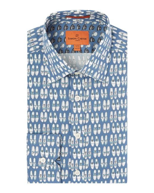 Simon Carter | Blue Shoe Print Shirt for Men | Lyst