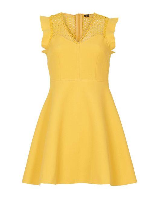 Izabel London | Yellow Crochet Panel Dress | Lyst