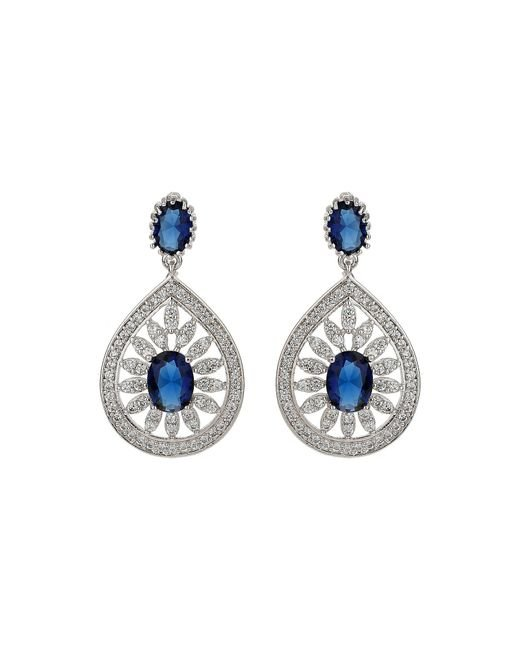 Mikey - Blue Filigree Cubic Drop Centre Earring - Lyst