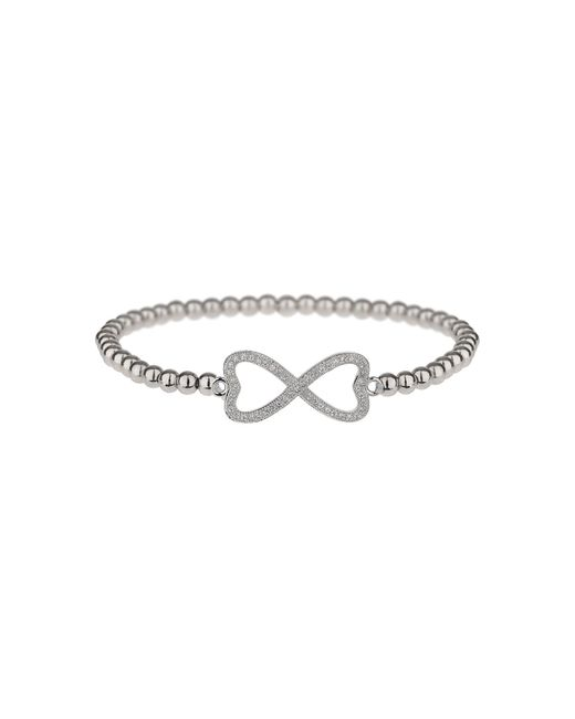 Mikey - Metallic Cross Over Love Cubic Bracelet - Lyst