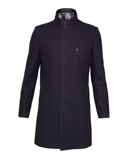 Ted Baker - Blue Marvin Wool Funnel Neck Overcoat for Men - Lyst