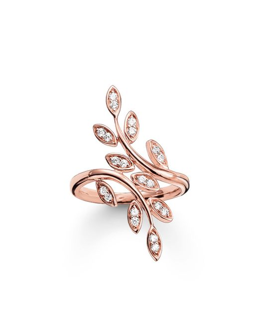 Thomas Sabo | White Fairy Twines Rose Gold Leaf Ring | Lyst
