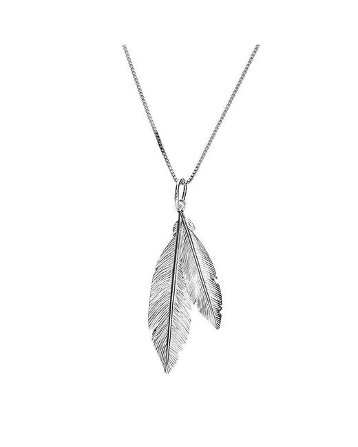 Azendi - Metallic Silver Twin Feather Pendant - Lyst