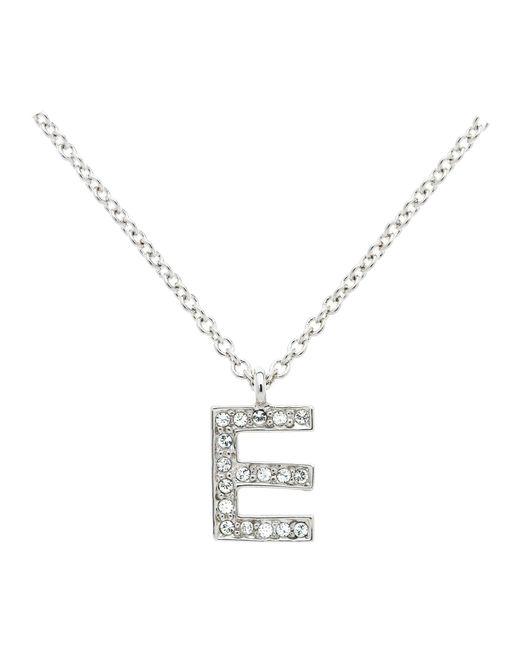 Melissa Odabash   Metallic Rhodium Crystal Letter E Pendant   Lyst
