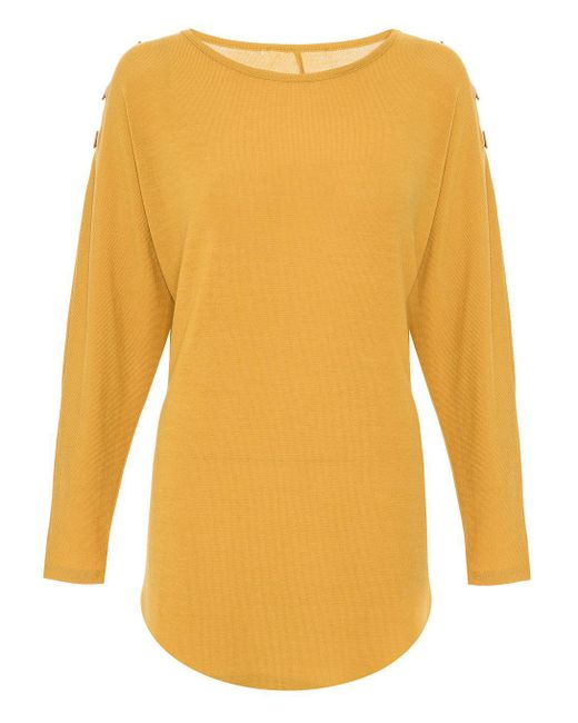 Quiz | Yellow Mustard Eyelet Light Knit Top | Lyst