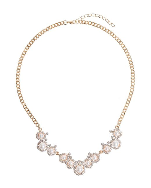 Mikey | Metallic Pearl Crystal Round Disc Linked Necklace | Lyst