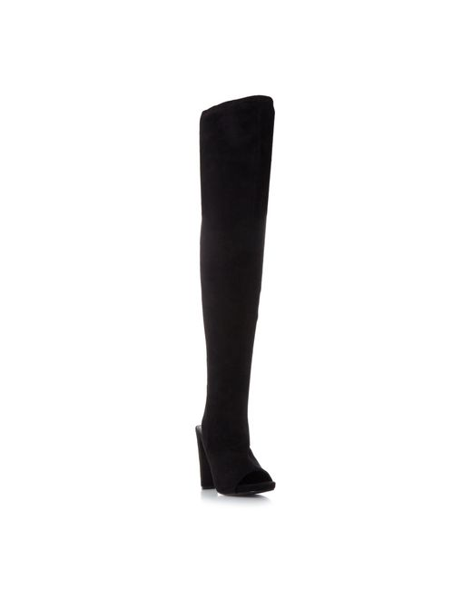 Steve Madden | Black Yimmie Stretch Peeptoe Boots | Lyst