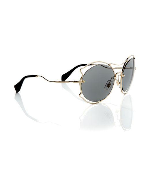 Miu Miu - Metallic Gold Irregular Mu 50ss Sunglasses - Lyst