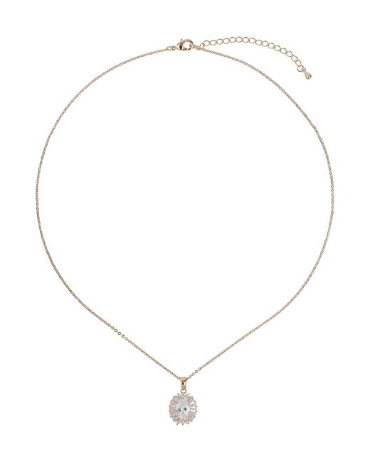 Mikey - Metallic Oblong Cubic Baugette Surround Necklace - Lyst