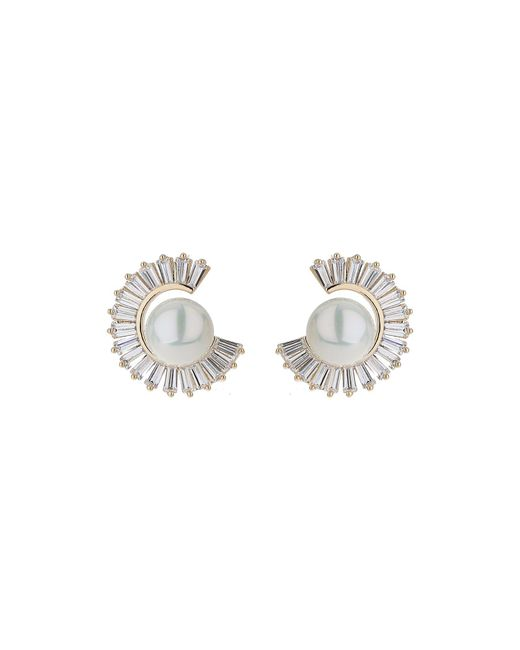 Mikey - Metallic Cubic Baugette Cresecent Pearl Earring - Lyst