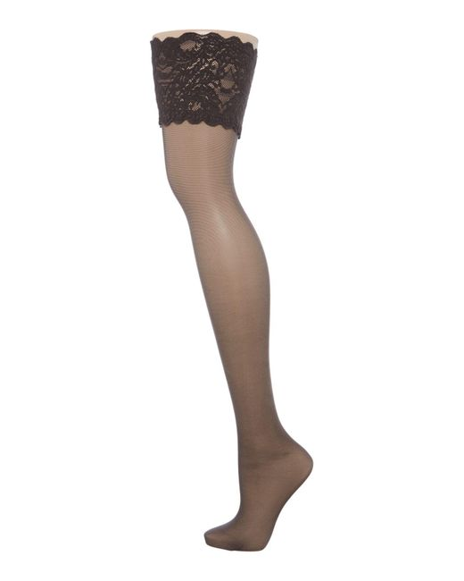 Wolford | Black Satin Touch 20 Stay Up | Lyst