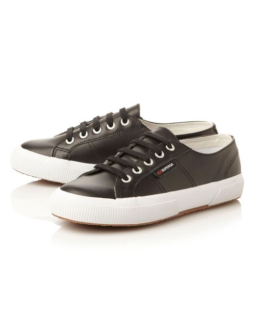 superga s001tt0 leather laceup shoes in black lyst