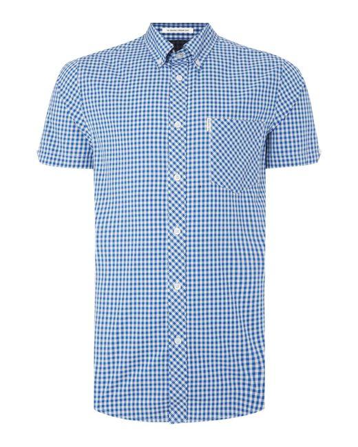 Ben Sherman   Blue Classic Gingham Check Short Sleeve Shirt for Men   Lyst