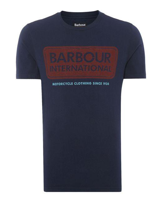 Barbour   Blue International Logo T-shirt for Men   Lyst