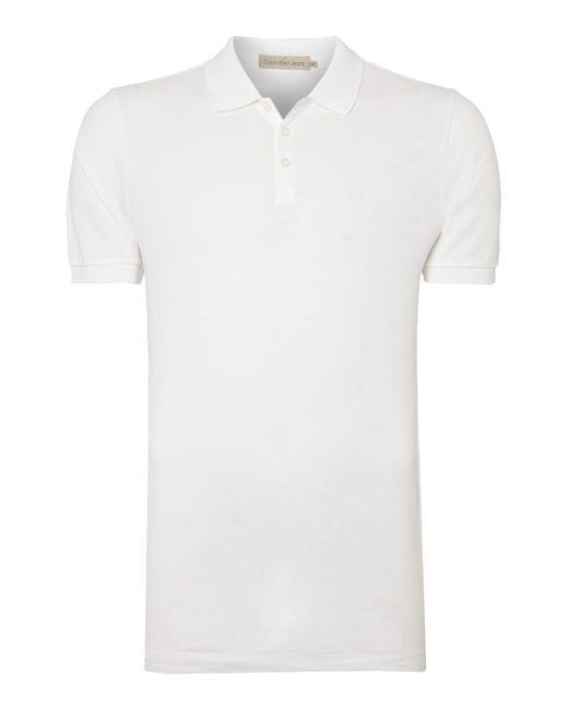 Calvin Klein | White Paul Cotton Polo Shirt for Men | Lyst