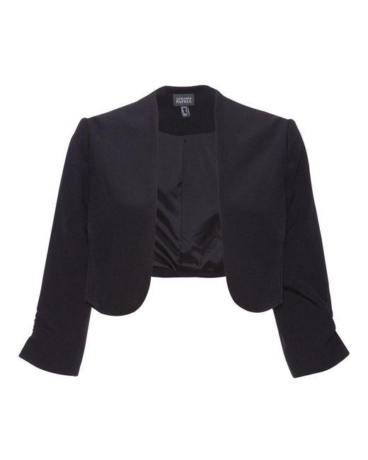 Adrianna Papell | Black 3/4 Length Sleeve Crepe Bolero Jacket | Lyst