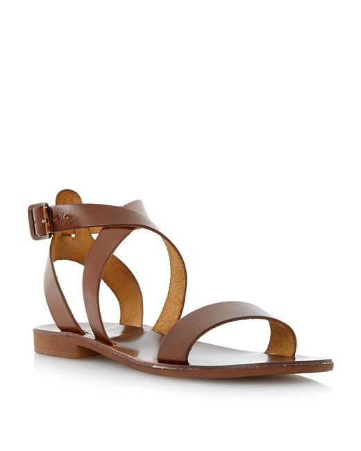 Dune | Brown Lotti Slotted Flat Sandals | Lyst