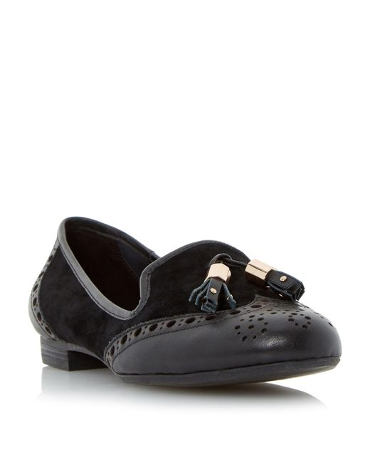 Dune | Black Loki Brogues Tassel Detail Loafers | Lyst
