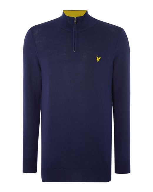 Lyle & Scott | Blue Golf Merino 1⁄4 Zip Jumper for Men | Lyst