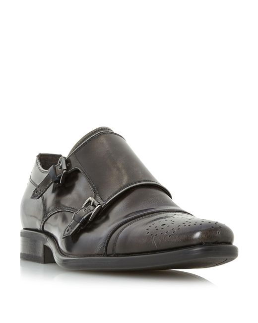 Bertie | Black Reggi Double Toecap Monk Shoes for Men | Lyst