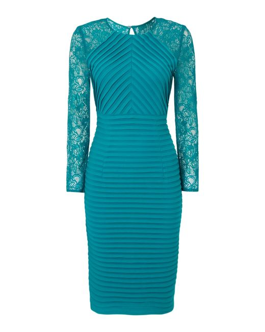 Teal Shutters: Linea Teal Lace Sleeve Shutter Dress In Blue (Teal)