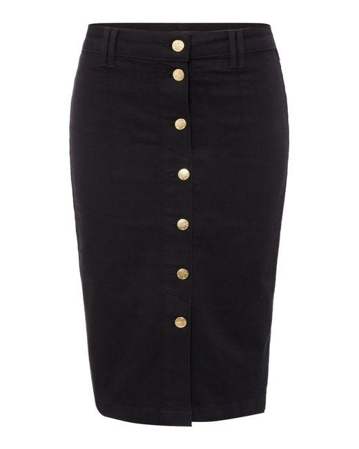 biba button through fitted denim skirt in black lyst