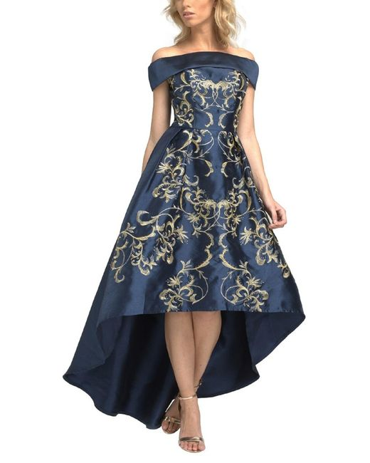 Chi Chi London Embroidered Bardot Dip Hem Dress In Blue Lyst