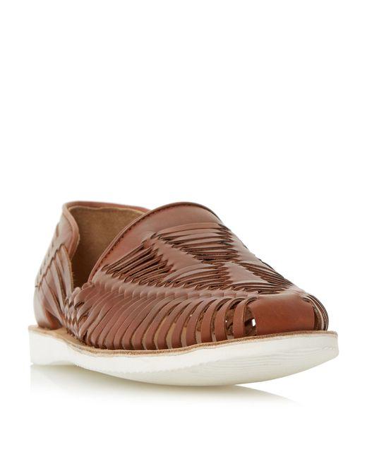 bertie broc white sole woven leather slip on shoe in brown