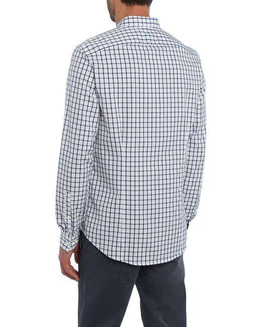 Michael kors slim fit button down check shirt in white for for Slim fit white button down shirt