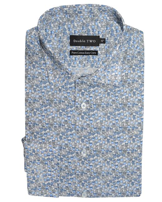 Double Two | Blue Patterned Formal Shirt for Men | Lyst