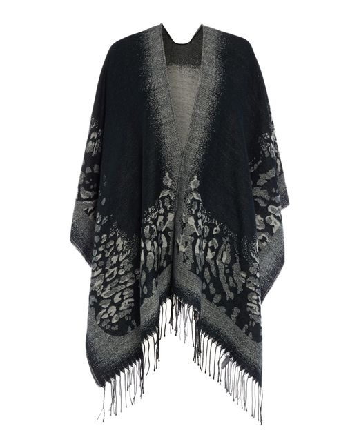 Pieces | Black Animal Print Cape | Lyst