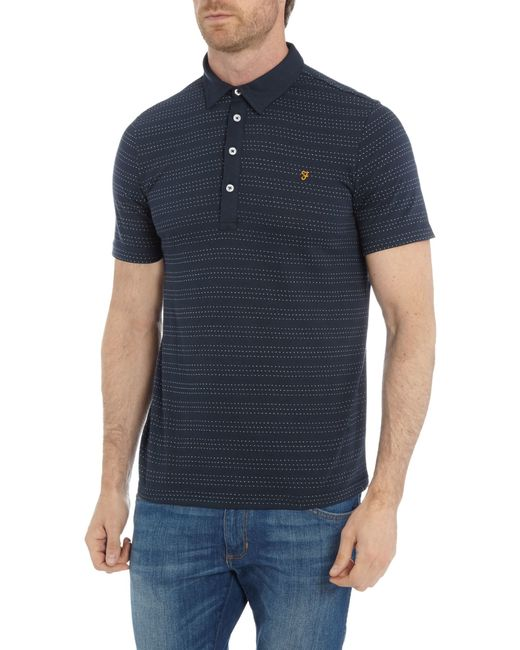 Farah | Blue Bentley Regular Fit Spot Stripe Polo Shirt for Men | Lyst
