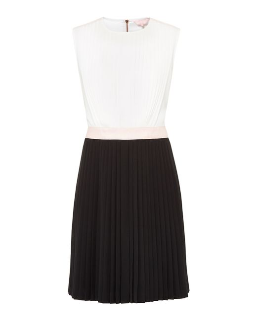 Ted Baker | Black Glina Colour Block Pleated Dress | Lyst