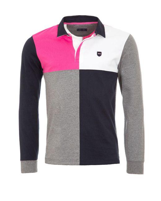 Eden Park Colour Block Cotton Rugby Shirt In Pink For Men