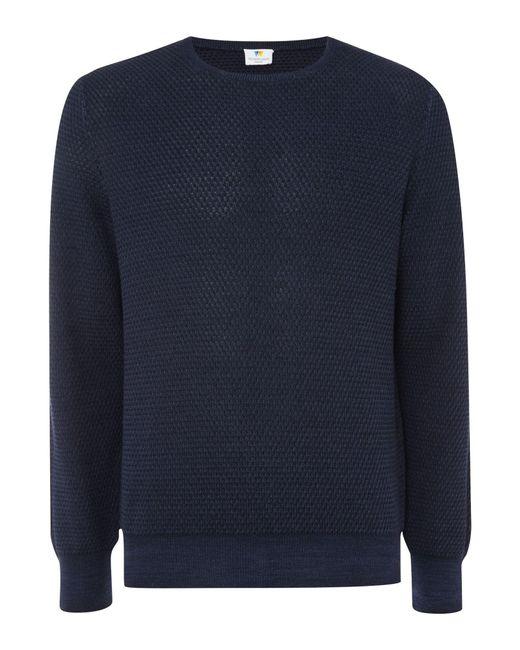 Richard James | Blue Diamond Texture Crew Knitwear for Men | Lyst