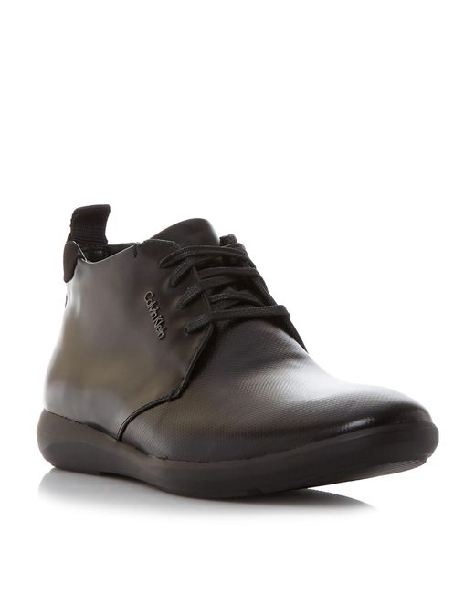 calvin klein zeb wedge formal chukka boots in black for