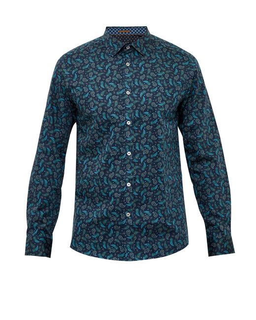 Ted Baker | Blue 'hangup' Modern Slim Fit Sport Shirt for Men | Lyst