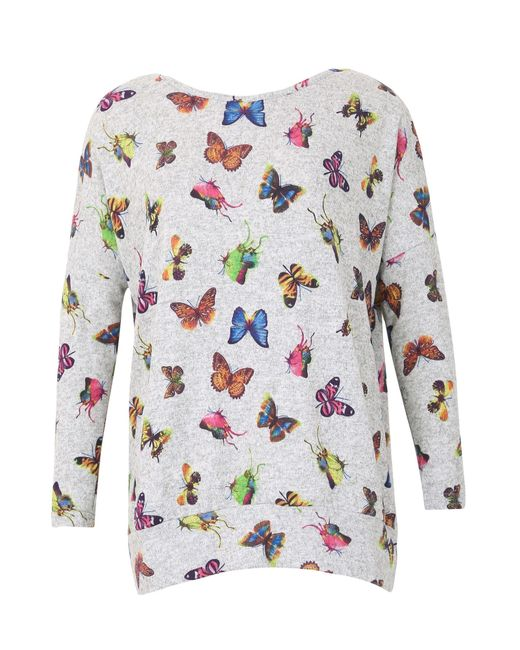 Izabel London | Gray Knitted Butterfly Print Top | Lyst