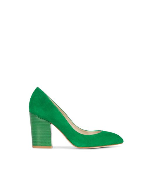 Karen Millen | Green Almond Toe Block Heeled Court Shoes | Lyst