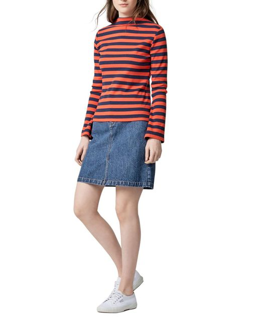 Warehouse Denim Split Front Skirt in Blue | Lyst