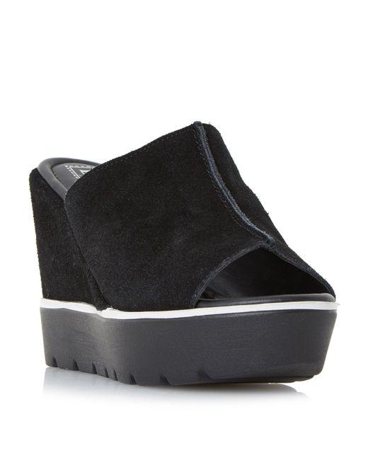 dune kammi high mule wedge sandals in black lyst