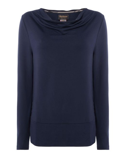 Barbour | Blue Cowl Neck Galloway Top With Hem Detail | Lyst