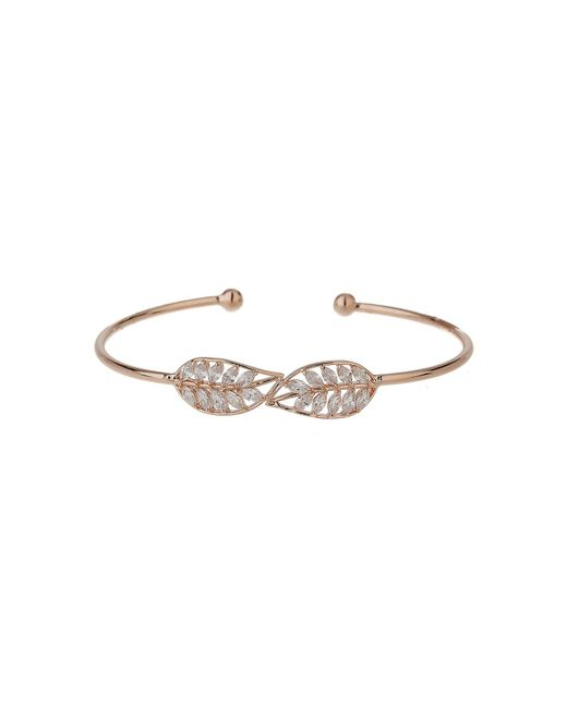 Mikey | White Twin Leaf Link Cubic Cuff Bangle | Lyst