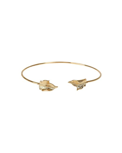 Mikey - Metallic Leaf Cap End Wire Cuff Bracelet - Lyst