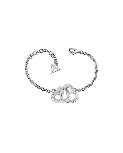 Guess | Metallic Lovers Ubb83069-l Linked Heart Bracelet | Lyst