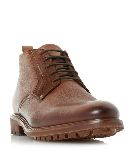 Bertie - Brown Cell Plain Grain Short Chukka Boots for Men - Lyst