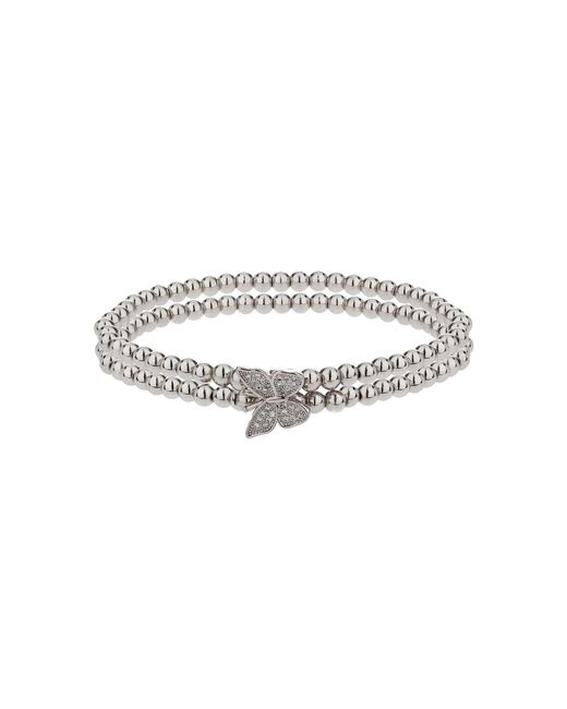 Mikey | White Single Butterfly Twin Line Bracelet | Lyst