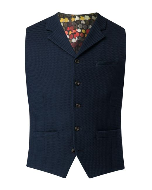 Gibson - Blue Men's Navy Textured Waistcoat for Men - Lyst
