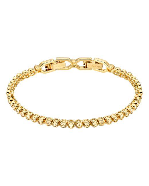 Swarovski - Metallic Emily 23k Gold-plated Crystal Studded Bracelet - Lyst