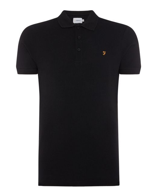 Farah | Black Men's Blaney Regular Fit Pique Polo Shirt for Men | Lyst